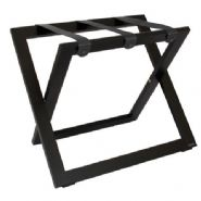 Compact Wooden Luggage Rack with Nylon Straps, Black